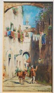 Vintage-Italian-watercolor-gouache-signed-mystery-artist-11-5-x-6-5