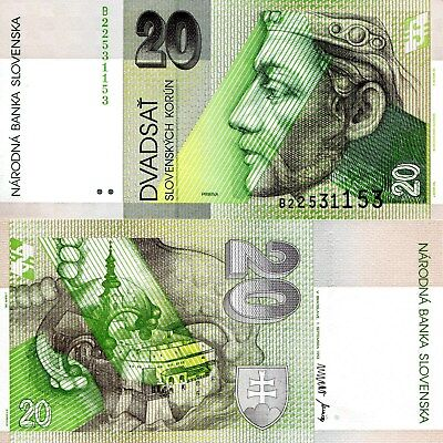 1999 Slovakia 20 Korun UNC /> Pre-Euro Price Pribina P-20d