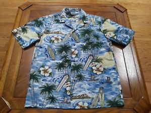 2719d5e6 Image is loading ROYAL-CREATIONS-Hawaiian-Large-Blue-Tropical-Button-Down-