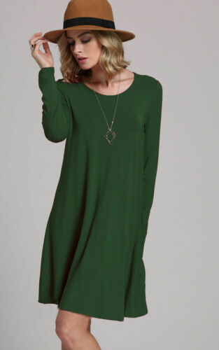 Ladies Long Sleeve Swing Dress Ladies A Line Skater Mini Dress Top New 8-26