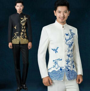 Details About L Embroidery Men Collar Chinese Tunic Stage Wedding Bridegroom Dress Ethnic Suit