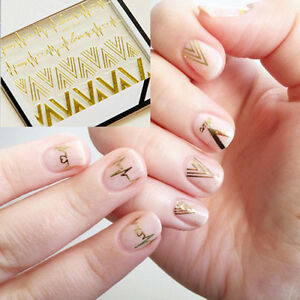 1x-Manicure-Nail-Art-Stickers-Gold-V-amp-Heartbeat-Shape-Nail-Tips-Decal-Decor-HOT