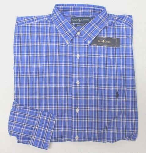 NWT $95 Polo Ralph Lauren LS Shirt Mens LT 3XLT BLUE  Plaid 100/% COTTON NEW