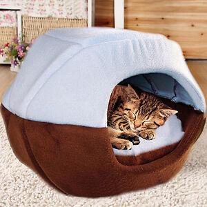 Pet Dog Cat Bed House Sleep Cave Cozy Warm Removable Folding Cushion Plush Mat