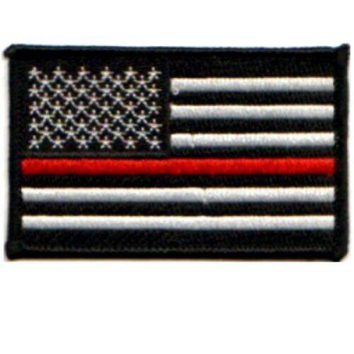 AMERICAN FLAG RED LINE EMBROIDERED FIREFIGHTER PATCHES~FREE SHIPPING!!