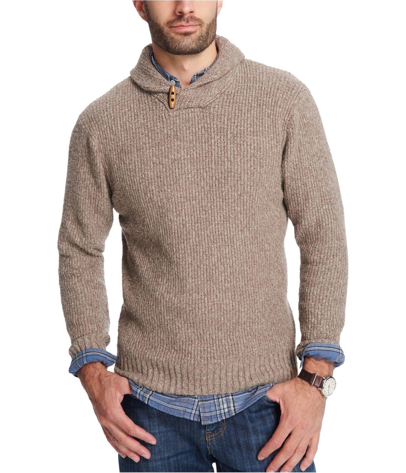 Weatherproof Vintage Men's Shawl Sweater,color  Beige Marl Size  S  , MSRP 80