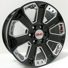 New 20 inch GMC Gloss Black w/ Chrome Inserts Wheels Rims Sierra Yukon Denali