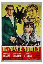 Rossano Brazzi Valentina Cortese IL CONTE AQUILA manifesto 2F originale 1955