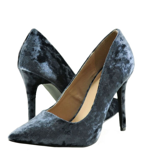Women/'s Shoes Qupid Milia 01 Crushed Velvet Pointed Toe Pumps Dark Blue *New*
