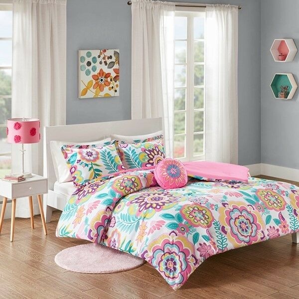 Pink & bluee Floral Girl's Twin Comforter Set (3 Piece Bedding)