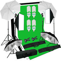 Photo Studio Continuous Softbox Umbrella Lighting Backdrop Light Stand Set