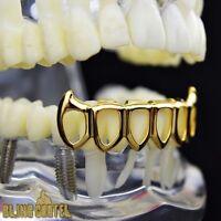 Fang Grillz 14k Gold Plated 6 Six Open Face Teeth Lower Bottom Vampire Fangs
