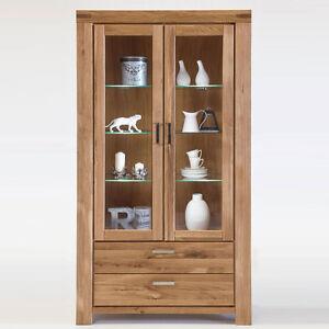 vitrine kiroyal wildeiche massiv schrank eiche natur anrichte regal regalschrank ebay. Black Bedroom Furniture Sets. Home Design Ideas