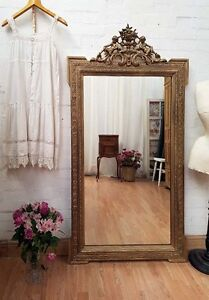 DELIGHTFUL-VERY-LARGE-ANTIQUE-FRENCH-CHERUB-CRESTED-GILT-GESSO-MIRROR-C1900