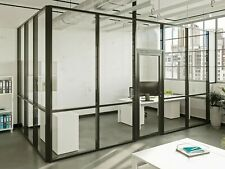 Cgp Glass Aluminum 2 Wall Office Partition System Withdoor 12x6x9 Black