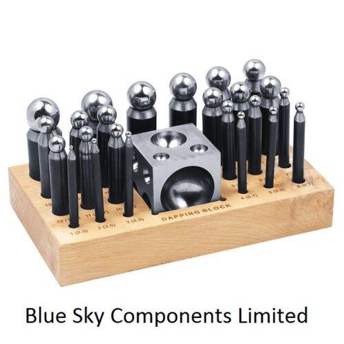 25 Teile Doming Stanze und Block Set Massiver Stahl Bauarbeiten Hochwertig Set