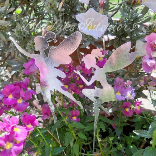 Set di 2 Argento Metallo Fata paletti giardino incantato Pentole bordi Patio
