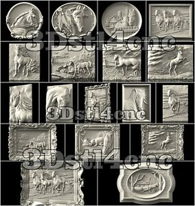18-3D-STL-Models-Horse-Panels-for-CNC-Router-Carving-Machine-Artcam-aspire
