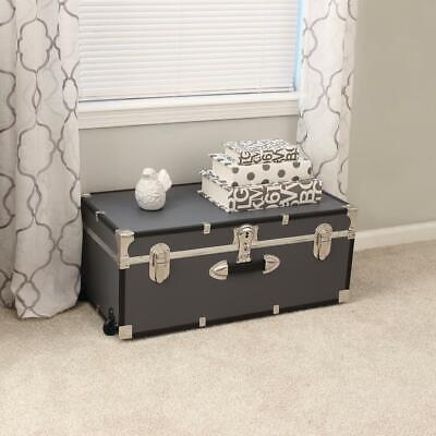 "Trunk With Wheels & Lock 30"" Bedroom Living Room Storage Vintage Wood Chest Gray   EBay"
