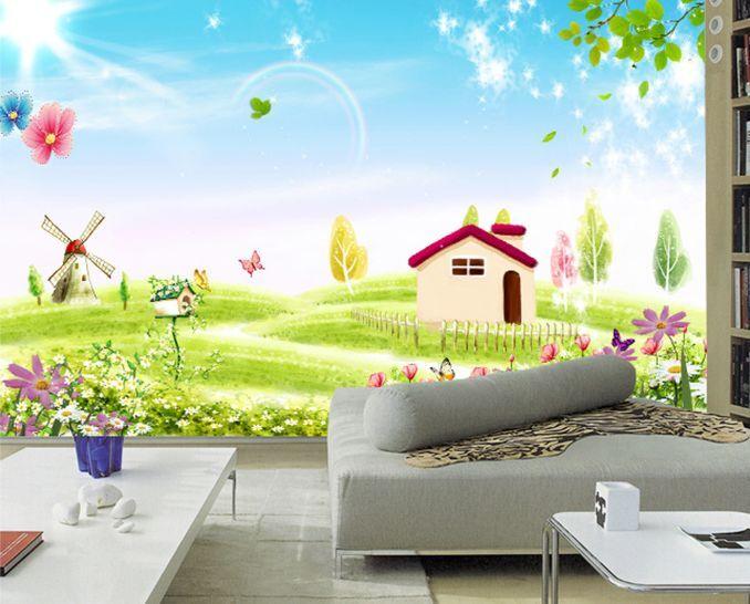 3D Schöne Wiese Landschaft 3  Fototapeten Wandbild Fototapete BildTapete Familie