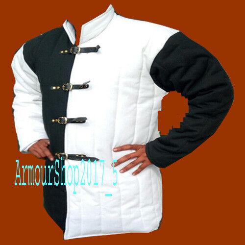 Medieval Black /& White padded Gambeson coat Aketon Reenactment Costumes