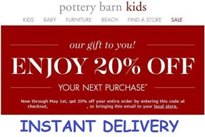 graphic about Pottery Barn Kids Printable Coupons called Data over Pottery Barn Children 20% Off Coupon PB Small children ***Prompt Shipping***