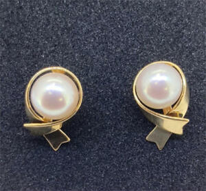 MIKIMOTO-Auth-K18YG-about-7-1mm-Akoya-Pearl-Pierced-Earrings-Used-from-Japan