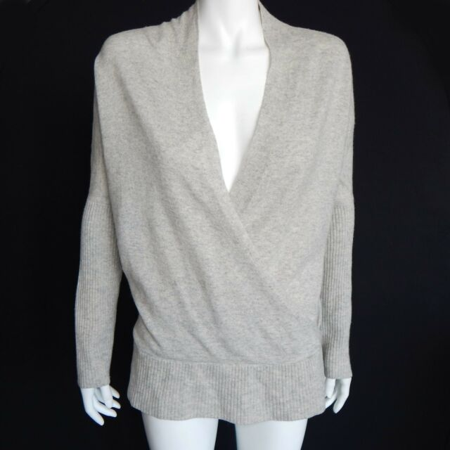 DESIGN HISTORY Pure Cashmere Gray Faux Wrap Sweater Women's Medium - M /4560