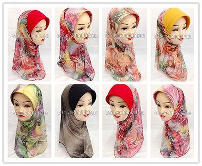 New Mesh Print Children Kids Girls Hijab Islamic Scarf Shawls Arab Headwear