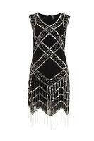 Black Vintage 1920s Flapper Gatsby Downton Abbey Fringe Beaded Dress Size 8-24