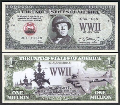 new World War II Million Dollar Bill #1939-1945 Funny Money Note FREE SLEEVE