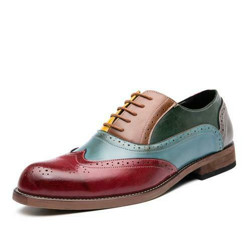 Details about  /Large Size Mens Low Top Faux Leather Shoes Wing Tip Carved Business Wedding 48 L