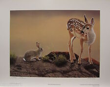"Glenn OLSON ""MILK RIVER RENDEZVOUS "" LTD art print mint COA Bunny Deer Rabbit"