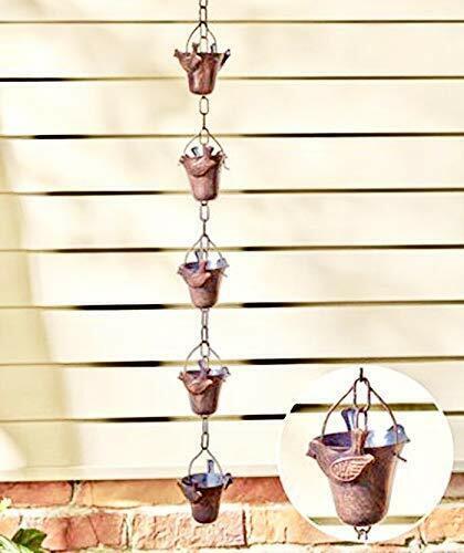 "Lily Cup Rain Chain Lotus Flower Metal Garden Art Decor Pond 96/"""