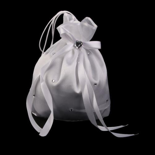 New Wedding Bridesmaid Flower Girl Drawstring Dolly Bag White Satin Crystal