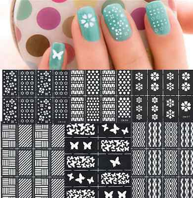 Reusable Stamping Tool Nail Art Template Stickers Stamp Stencil Guide Vinyls