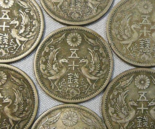 Japan Double Phoenix 50 Sen Silver Coin Taisho Year 12 Japanese Fifty Sen 1923