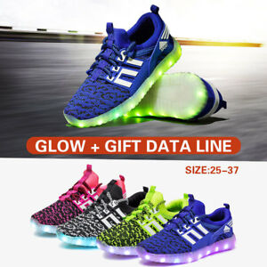 Details About 7 Color Led Light Up Shoes Kids Luminous Sportswear Sneakers Running Shoes Gift