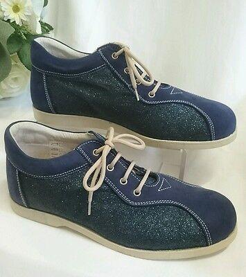 Damen Mädchen Schuhe Sneakers MADE IN ITALY Gr. 37 Blau Glitzer B-Ware