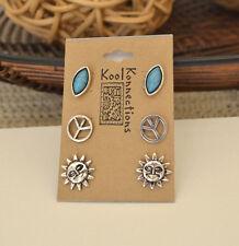 Silver tone boho Stud Earring Set - 3 Pairs - Sun, Peace & Turquoise NWT