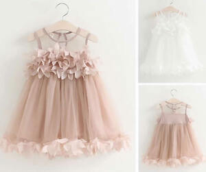 Baby-Girl-Toddler-Dress-Sleeveless-Summer-Princess-Party-Pageant-Wedding-Tutu