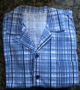 Men-039-s-Flannel-Pyjamas-Chequered-Blue-White-Medium
