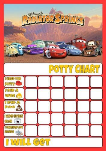 CARS  disney POTTY//TOILET TRAINING REWARD CHART free stars /& pen
