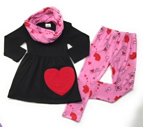 Valentine's Day Infant Baby Toddler Girl Heart Scarf Boutique Outfit Clothing
