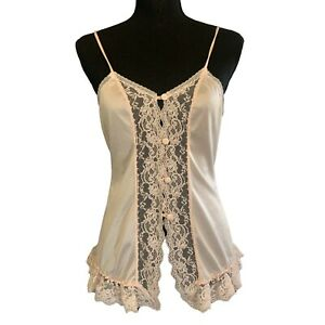 Vintage Camisole   Sheer Cami Top   Lingerie satin & lace Small