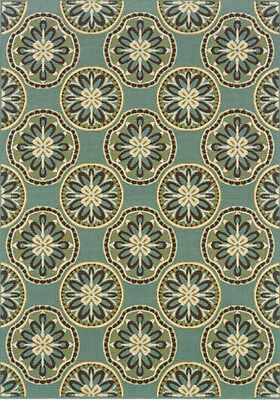 2x3 Sphinx Circles Flowers Casual Blue 8323l Area Rug