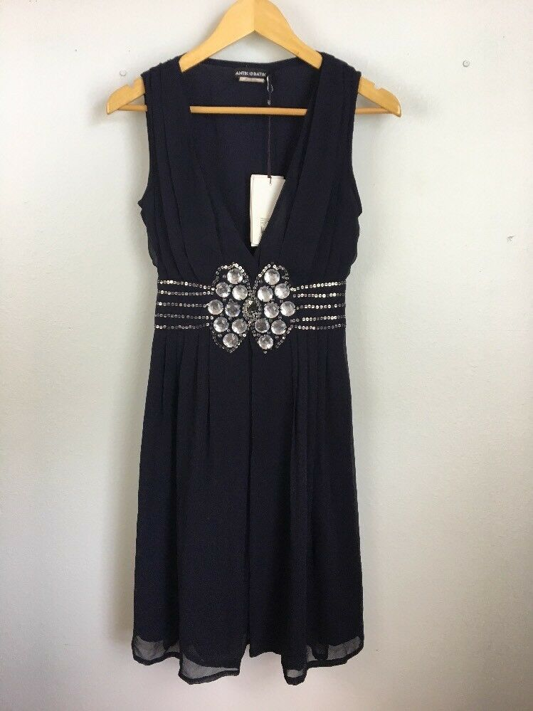 Antik Batik damen Dress XS Navy Blau Embellished V Neck Sleeveless Cocktail New