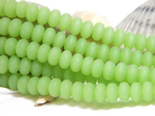 39 8x5mm Opaque Green Sea Glass Beads Rondelles Frosted Matte Beach D-E28