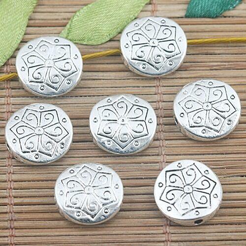 10pcs Tibetan Silver Color Round Flower Pattern Beads EF1271