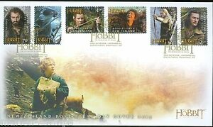 NEW-ZEALAND-HOBBIT-2013-THE-DESOLTAION-OF-SMAUG-SET-6-SELF-ADHESIVE-STAMPS-FDC